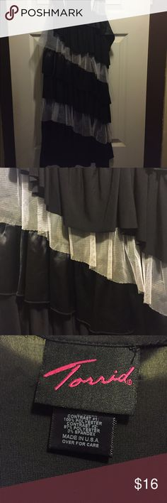 Dress Black and white ruffled dress, stretchy material, I wore it as a shirt and it came to right above my knees Dresses
