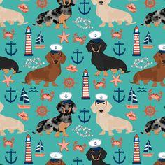 Colorful fabrics digitally printed by Spoonflower – dachshund dog fabric nautical summer dog design – turquoise Dackel Hund Stoff nautischen Sommer Hund Design – Türkis [. Dachshund Art, Funny Dachshund, Daschund, Diy Y Manualidades, Samoyed Dogs, Summer Dog, Dog Beach, Dog Accessories, Dog Design