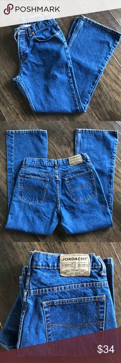Vintage JORDACHE High Waist Jeans | Size 9/10 High waisted jeans with a slight flared leg opening. Size 9/10. These jeans are in excellent condition and very sturdy. Measurements are included in the pictures. Any question please ask. Thanks for looking! Jordache Jeans Flare & Wide Leg