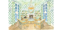 Illustration of a Christmas room with furniture, lighting, fabrics and wallpaper all by Soane Britain. Christmas Garden, Christmas Room, Love Painting, Of Wallpaper, Repeating Patterns, Stripes Design, Botanical Prints, Rattan, Britain
