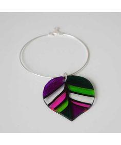Colorful leaf hoop earring