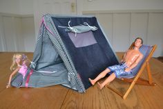Homemade Barbie tent and sleeping bags!