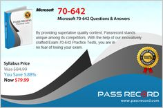 Passrecord offers the latest Microsoft 70-642 guide, which simulates the real exam scenario. Just connect with our team and get every latest update about any particular exam    http://www.passrecord.com/70-642.html