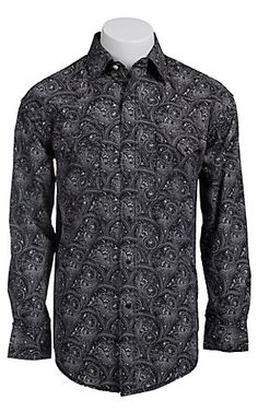 Rough Stock® Men's Black with Pale Pink Paisley Print Long Sleeve Western Shirt R0S5277 | Cavender's