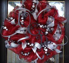 University of Georgia (UGA) Deco Mesh Wreath this is my favorite! Georgia Bulldog Wreath, Georgia Bulldogs, Summer Wreath, 4th Of July Wreath, Christmas Wreaths, Christmas Crafts, Blue Christmas, Christmas Decorations, Xmas