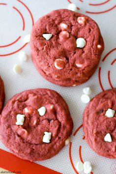 Red Velvet White Chocolate Chip Cookies: These bright red cookies are soft, chewy, and packed with incredible red velvet flavor! Day 2 of the 14 Days of Love!