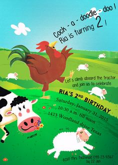 Farm Animal Party Invitation  Barn yard Birthday by JPEGgeneration