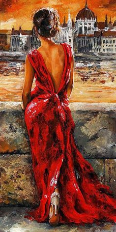 A superb and bold painting that is well balanced with the red. It's by Emerico Imre Toth called Lady in Red 34 - I Love Budapest.