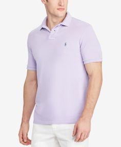 Polo Ralph Lauren Men's Custom Slim Fit Mesh Cotton Polo - Purple XXL