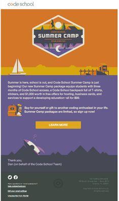 Code School – Summer Camp HTML email marketing design