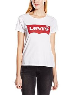 Levi's THE PERFECT TEE, T-Shirt Femme, Blanc (LARGE BATWING BRIGHT WHITE), X-Small: Tweet – Style : basic- Coupe : coupe cintrée- col col…