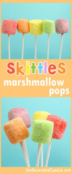 SKITTLES marshmallow pops -- great for a unicorn or rainbow party