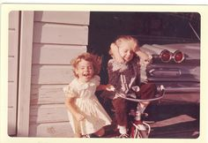 found photo of two girls and a 1960 Pontiac
