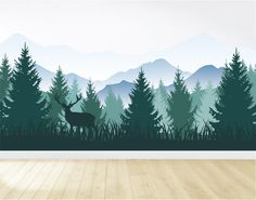 Removable Mountain Wall Decal / Mountain Wall Mural / Woodland Wall Decal / Forest Wall Mural / Peel and Stick Wall Mural Wallpaper Floor, Fabric Wallpaper, Wall Murals, Wall Art, Tree Wall Decals, Nursery Wall Decals, Wall Stickers, Vinyl Decals, Libros Pop-up