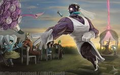 Visual or written creative work containing copyrighted characters or concepts. Dr Mundo, Runaway Bride, Cool Artwork, Artist At Work, League Of Legends, Concept Art, Lol, Fan Art, Deviantart