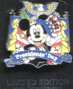 Disney Presidents Day Pin Mickey Mouse LE 1000 on Original Card