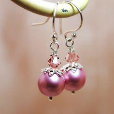 Pink pearl earrings - $19.00 by BGBJewelry on Etsy