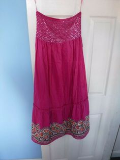 NEXT WOMEN'S PINK STRAPPY COTTON DRESS WITH SEQUINS #NEXT #STRAPPY Cotton Dresses, Size 16, Pink Ladies, Sequins, Summer Dresses, Fashion, Moda, Sundresses, La Mode