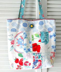 Vintage Tablecloth and Feedsack Patchwork Tote Bag Purse