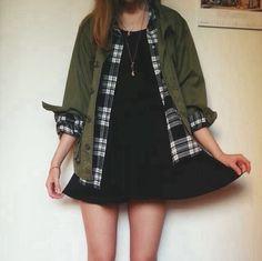 Black dress + green parka jacket. I've always wanted a jacket like this.