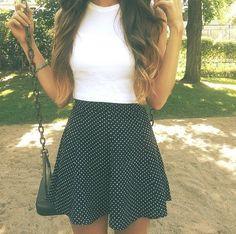 White Crop top and polka dot skirt