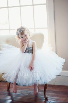 Tutu Dress Flower Girl Custom, White Gray or Ivory toddlers girls, Tulle Flower Girl Dress, Custom Tulle Dress for Girls