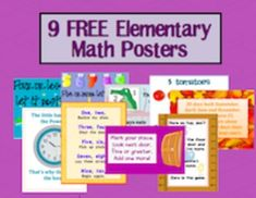 This is a set of 9 elementary math posters for you to print and hang up in your room, or print and place in student math binders as visual reminder...