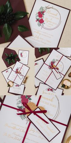 Floral Wedding Stationery Collection. Burgundy paper and gold foiling. Red, burgundy and green flowers and calligraphy, perfect for a vintage themed wedding. Part of the 'BLOOMS' collection by Paper Date.