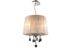 Sheer Chrome Three Light Drum Pendant With Sheer Shade And Crystal Glass Accents Gen Lite Kitchen Pendant Lighting, Drum Pendant, Sheer Shades, 3 Light Chandelier, Island Lighting, Accent Furniture, Contemporary, Modern, Interior And Exterior