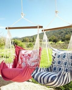 Ideas for creating your own outdoor Oasis: Swinging Hammock Chairs