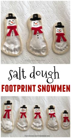 Salt dough footprint snowmen ornaments are adorable! Cute kids craft for christmas Michelle CraftyMorning com is part of Cute Kids Crafts Christmas Salt dough footprint snowmen ornaments are ador - Cute Kids Crafts, Xmas Crafts, Baby Crafts, Toddler Crafts, Baby Christmas Crafts, Grandparents Christmas Gifts, Thanksgiving Crafts, Kids Diy, Christmas Crafts For Kids To Make Toddlers