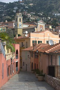 Villefranche sur Mer, France - beautiful alleyways, gorgeous back drop in dress Villefranche Sur Mer, Fantasy Places, Ferrat, Beaux Villages, World Pictures, Provence France, French Riviera, South Of France, Places To Visit