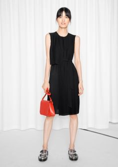 & Other Stories image 1 of Belted Pleats & Plissé Dress  in Black