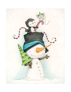 "art print - christmas - winter - snowman - penguin - mouse - illustration - friends -  ""JOLLY TRIO!"""