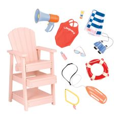 Keep the shores safe with the cool Our Generation Lifeguard Playset for dolls which comes with a working megaphone and lots of cool beach gear! Og Dolls, Girl Dolls, Barbie Dolls, Our Generation Doll Accessories, Poupées Our Generation, American Girl Doll Sets, American Girls, Lifeguard Chair, Doll Shop