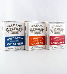 Autumnal Vegan Bar Soaps – Pack of 3 by Clean Getaway on Scoutmob Shoppe. A trio of delightful vegan soaps with refreshing autumnal scents of Happy Camper, Sassafras Scrubber, and Sweater Weather.