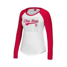 T-Shirts Ohio State Buckeyes White , Women's ($28) ❤ liked on Polyvore featuring tops, t-shirts, white, white long sleeve tee, white long sleeve shirt, long sleeve sports shirts, white shirt and sports t shirts