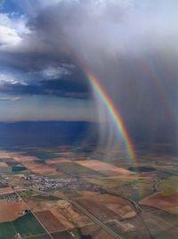 Rain cloud with a rainbow.