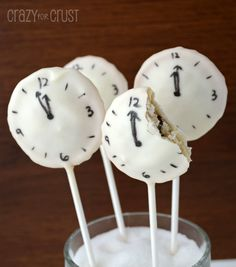 Clock pie pops for New Years Eve
