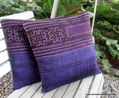 Purple Ethnic Hmong Embroidery and Batik 16  by SiameseDreamDesign, $28.00