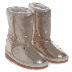 Moschino Gold Sheepskin Boots at Childrensalon.com