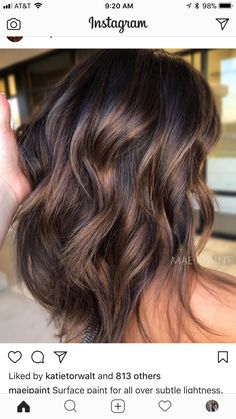 And videos from ✨ balayage & beautiful hair ( hair in 2 Bayalage, Balayage Brunette, Brunette Hair, Brunette Balayge, Balayage Hair 2018, Brown Balayage, Hair Color And Cut, Brown Hair Colors, Shatush Hair