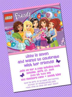 Lego Friends Girls DIY Printable Birthday by CayennePaper on Etsy, $6.00
