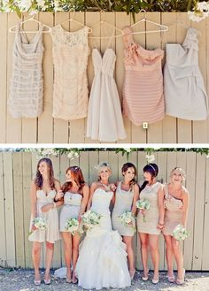 Love this Bridesmaid Dress idea. Different dresses from the same color palette so every Bridesmaid can get a dress she likes and fits. YOU CAN name the length and general style melissa! different tones of grey! Different Bridesmaid Dresses, Different Dresses, Bridesmaid Inspiration, Wedding Inspiration, Wedding Ideas, Bridesmaid Ideas, Casual Bridesmaid, Bohemian Bridesmaid, Wedding Photos