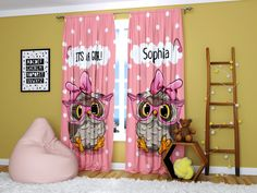 Pink Owl Curtains Personalized Custom For Window Girls Kids Nursery Bedroom Living Curtain with Name 84 Inch * Check this awesome product by going to the link at the image. (This is an affiliate link). City Curtains, Window Curtains, Pink Owl, Curtain Sets, Living Room Bedroom, Ladder Decor, Toddler Bed, Nursery, Windows