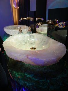 Rock Crystal Sink and 'Amaltea' Malachite Vanity Top by Baldi. Pietra su pietra.