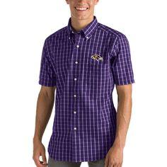 Baltimore Ravens Antigua Endorse Woven Short Sleeve Button-Down Shirt -  Purple White 331ecf629