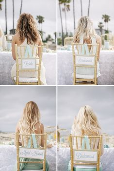 DIY ~ how to easily make these adorable wedding reception chair signs - that will fit any chair!!! FREE downloads #somethingturquoise