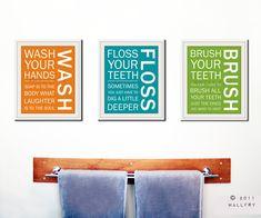 Kids bath wall art Bathroom rules Bathroom prints Wash by Wallfry, $57.00