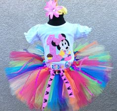 Baby Minnie Mouse Pink Rainbow Girls- Birthday Tutu Outfit